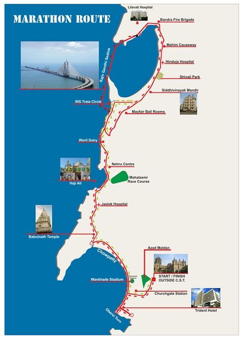 Трасса Мумбайского марафона (Tata Mumbai Marathon) 2019