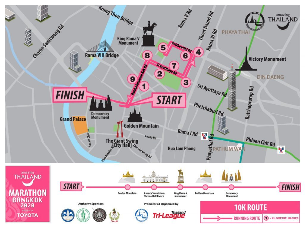 Трасса забега на 10 км в рамках Бангкокского марафона (Amazing Thailand Marathon Bangkok) 2020