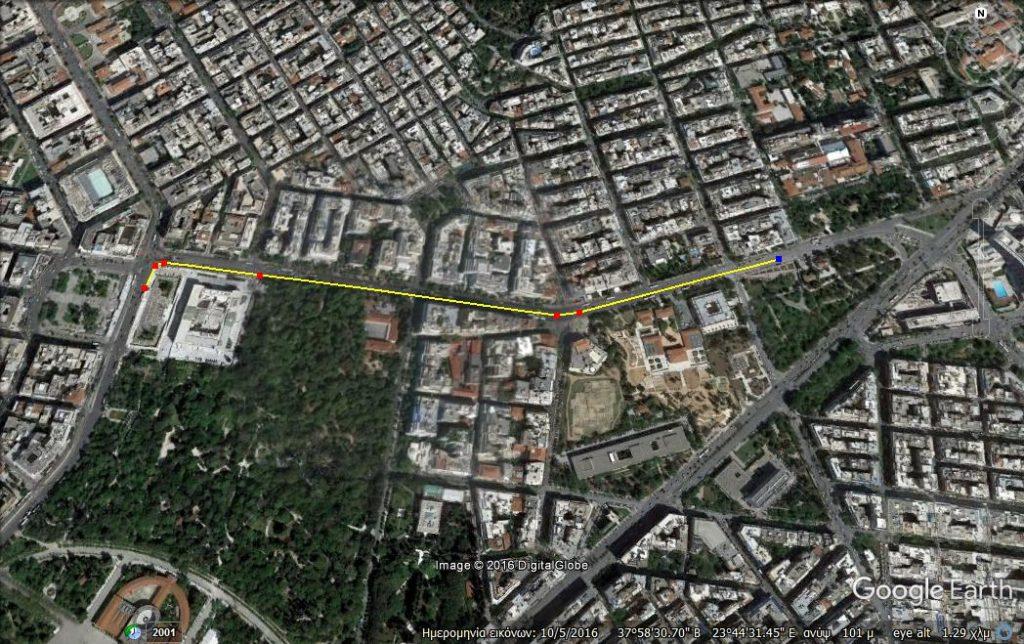 Трасса забега на 1 км в рамках Афинского полумарафона (Αθήνας Ημιμαραθώνιος ERGO, Athens Half Marathon ERGO) 2020