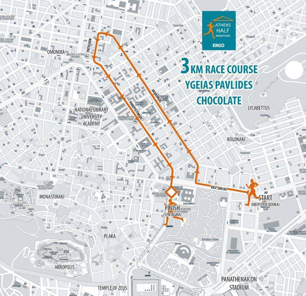 Трасса забега на 3 км в рамках Афинского полумарафона (Αθήνας Ημιμαραθώνιος ERGO, Athens Half Marathon ERGO) 2020