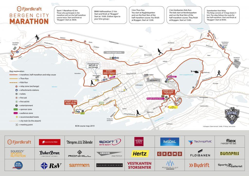 Трасса забегов Бергенского марафона (Fjordkraft Bergen City Marathon) 2019
