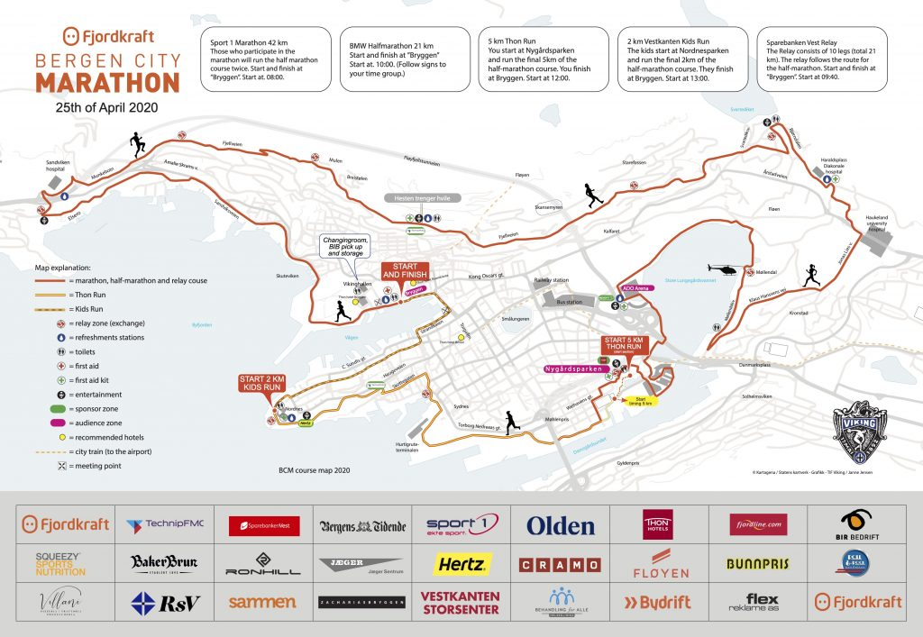 Трасса забегов Бергенского марафона (Fjordkraft Bergen City Marathon) 2020