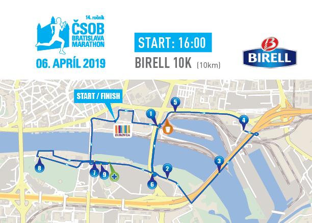 Трасса забега на 10 км в рамках Братиславского марафона (ČSOB Bratislava Marathon) 2019
