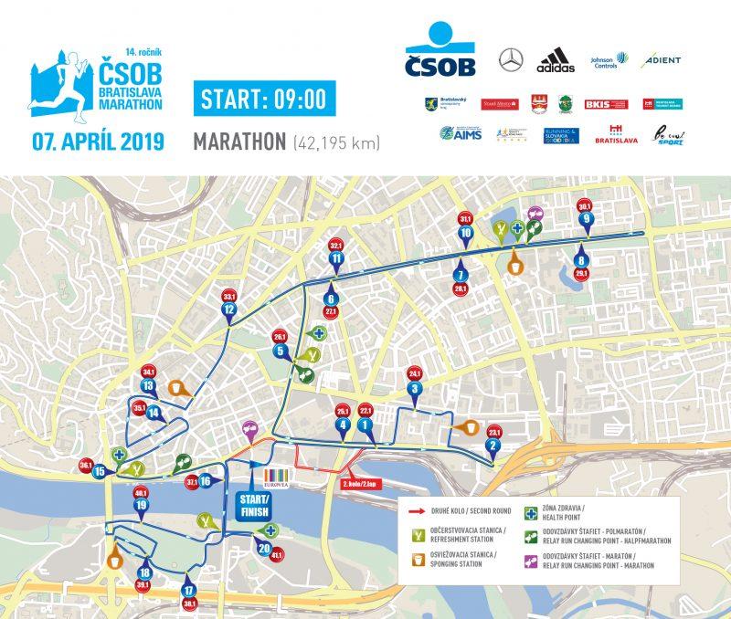 Трасса Братиславского марафона (ČSOB Bratislava Marathon) и полумарафона 2019