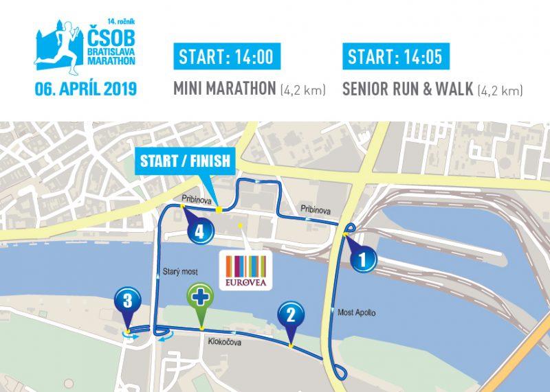 Трасса забега на 4,2 км в рамках Братиславского марафона (ČSOB Bratislava Marathon) 2019