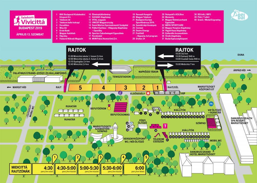План зоны старта субботних забегов в рамках Будапештского полумарафона (Telekom Vivicitta Spring Half Marathon) 2019