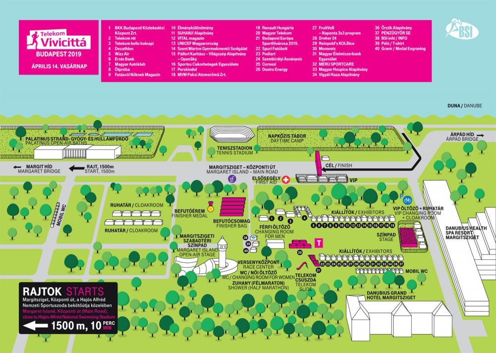 План зоны финиша Будапештского полумарафона (Telekom Vivicitta Spring Half Marathon) 2019