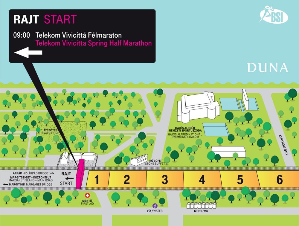 Стартовые зоны Будапештского полумарафона (Telekom Vivicitta Spring Half Marathon) 2019