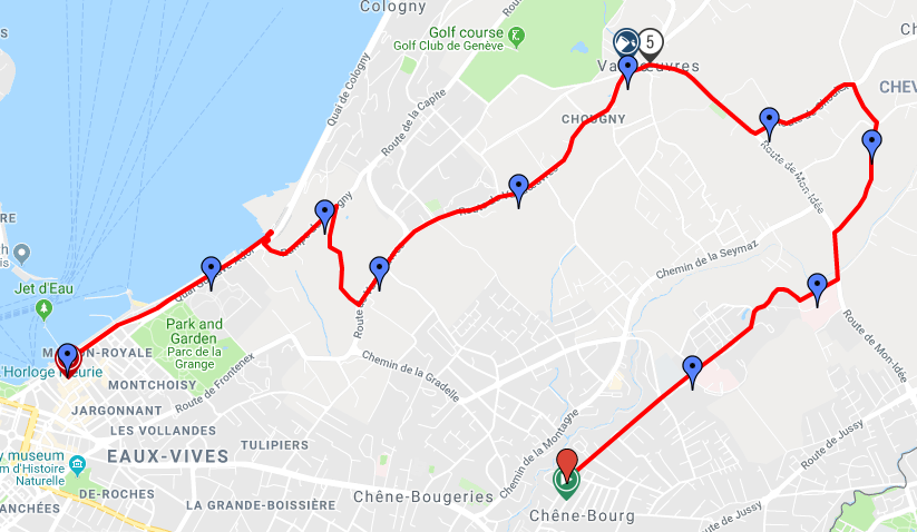Трасса забега на 10 км в рамках Женевского марафона (Harmony Genève Marathon for Unicef) 2020