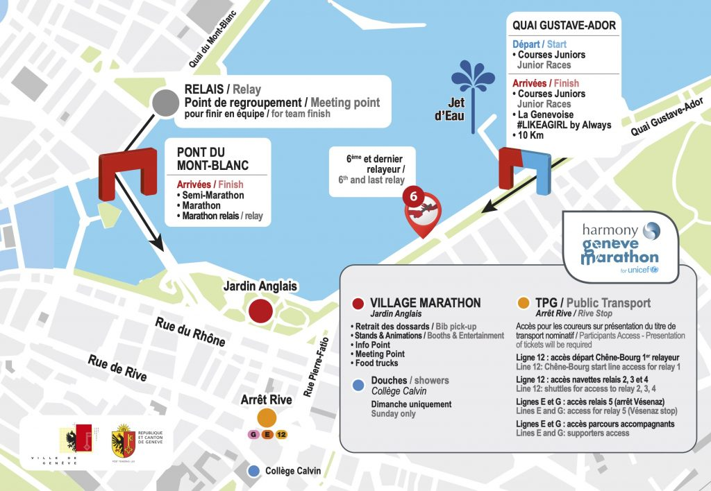План зоны финиша Женевского марафона (Harmony Genève Marathon for Unicef) 2019