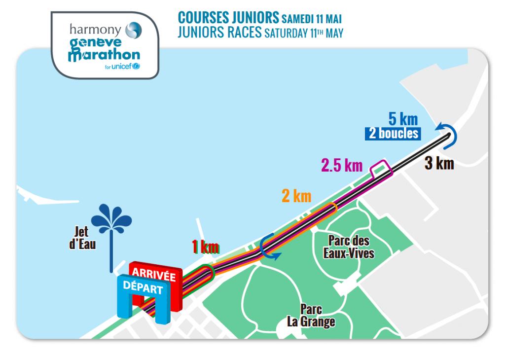 Трасса детских забегов в рамках Женевского марафона (Harmony Genève Marathon for Unicef) 2020
