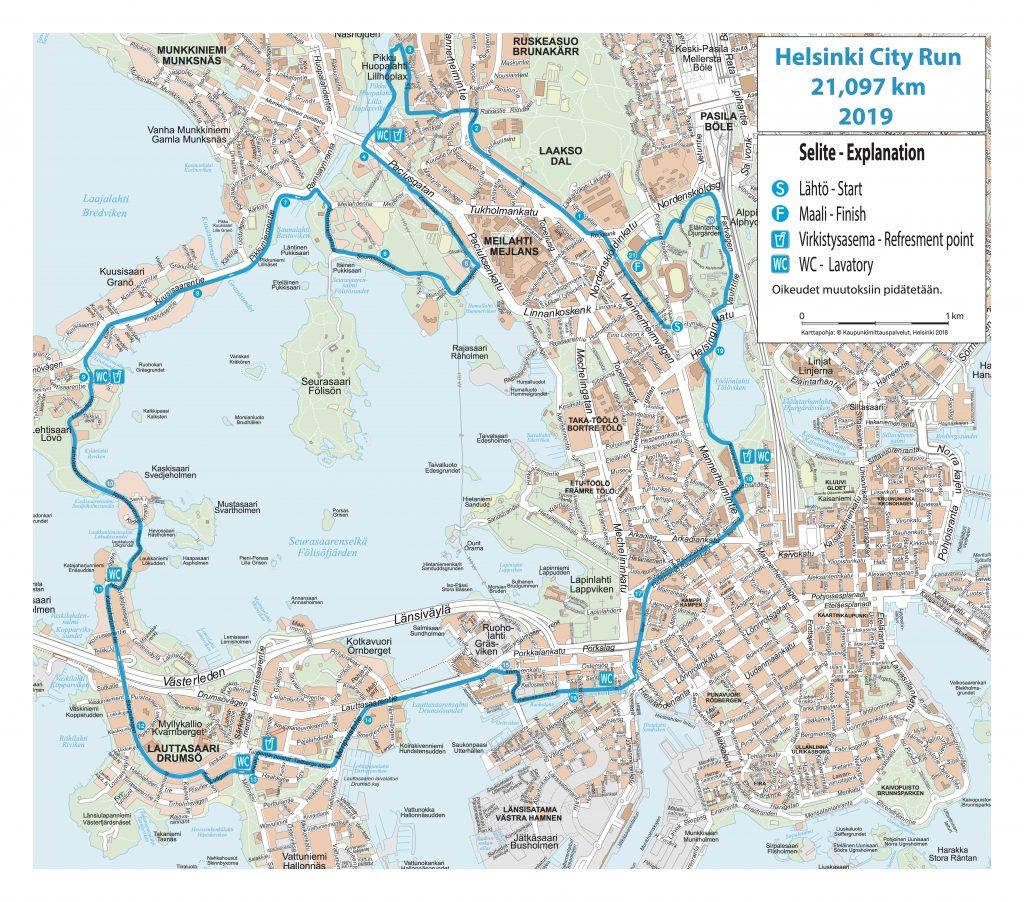 Трасса Хельсинского полумарафона (Helsinki City Run puolimarathon) 2019