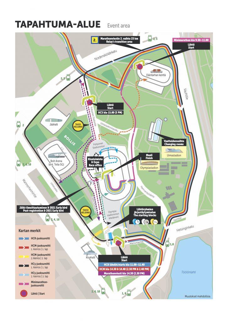 Start and finish zone, Helsinki City Running Day 2020