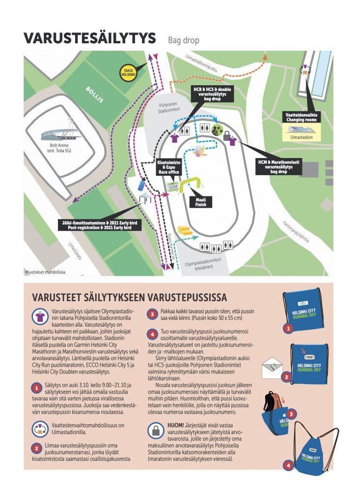 Схема места хранения личных вещей участников Хельсинского марафона (Garmin Helsinki City Marathon) и полумарафона (Helsinki City Run puolimarathon) 2020