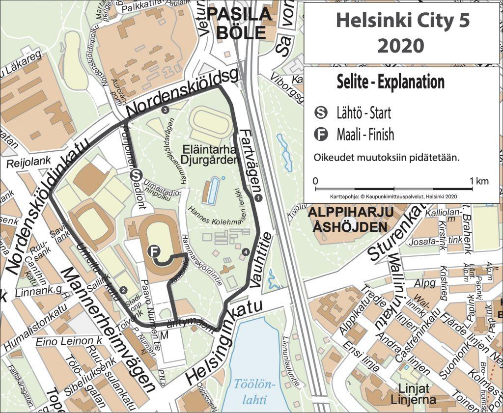 Трасса забега на 5 км в рамках Хельсинского марафона (Garmin Helsinki City Marathon) 2020