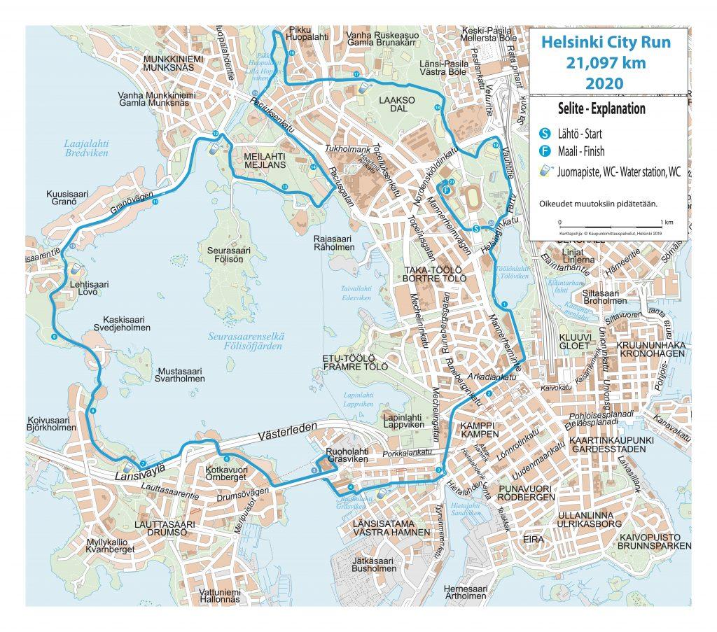 Трасса Хельсинского полумарафона (Helsinki City Run puolimarathon) 2020