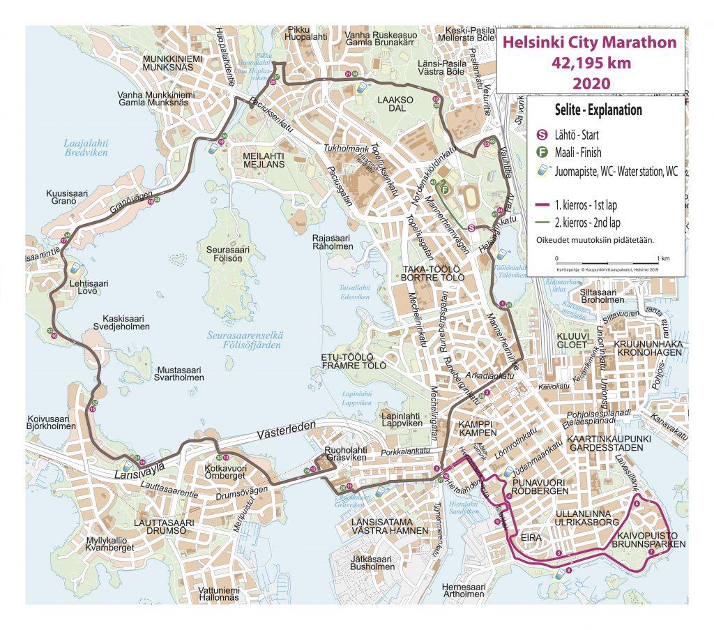 Course of the Helsinki Marathon (Garmin Helsinki City Marathon) 2020