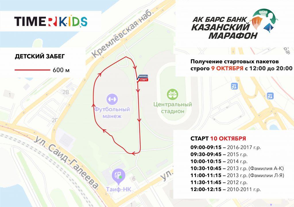 Трасса детских забегов в рамках Казанского марафона (АК БАРС Банк Казанский марафон) 2020