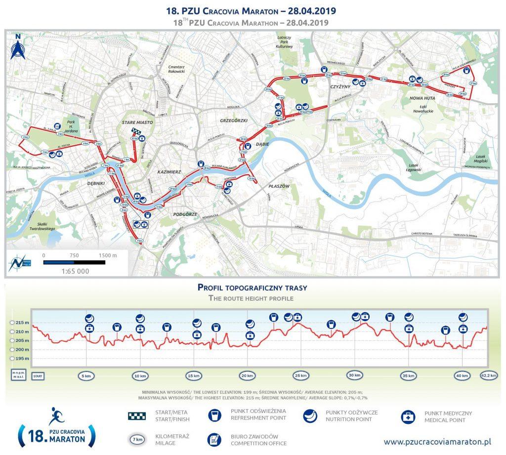 Трасса Краковского марафона (Cracovia Maraton) 2019 с профилем высот