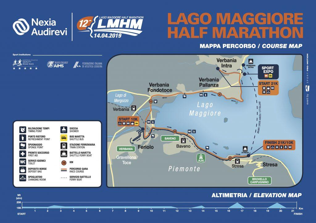 Трасса полумарафона озера Лаго-Маджоре (Nexia Audirevi Lago Maggiore Half Marathon) 2019 с профилем высот