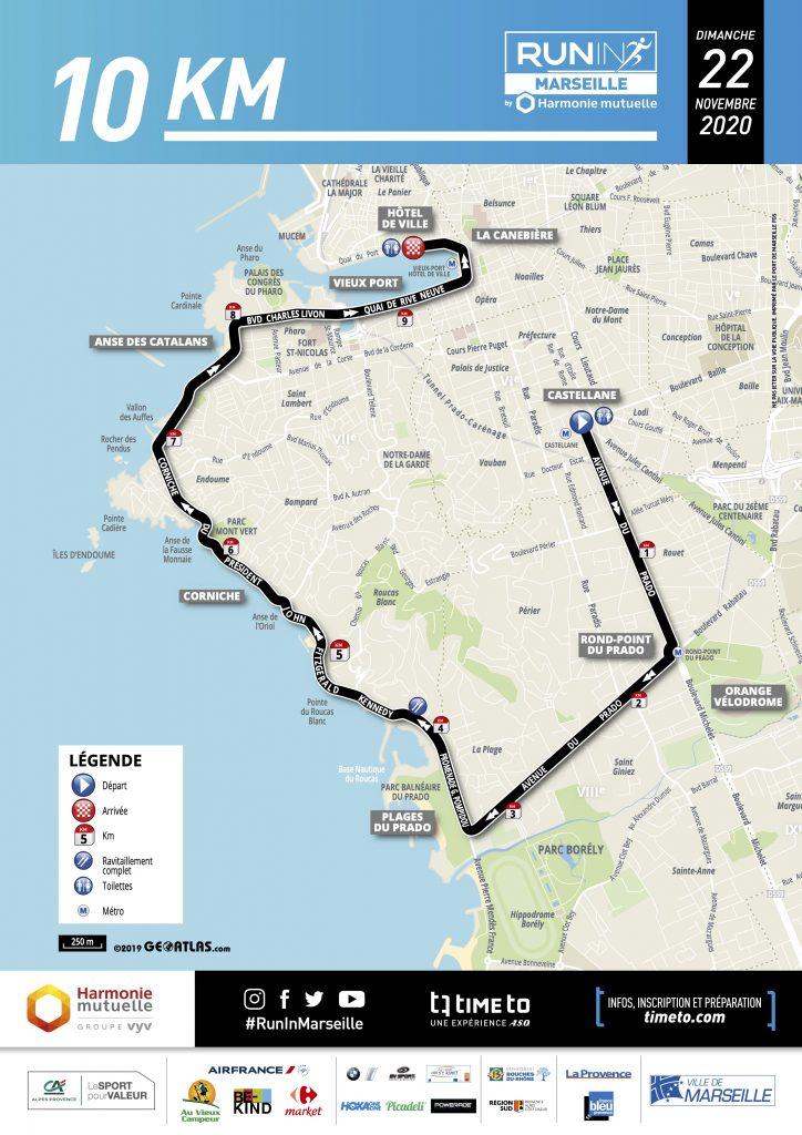 Трасса забега на 10 км в рамках Марсельского марафона (Run In Marseille by Harmonie Mutuelle) 2020