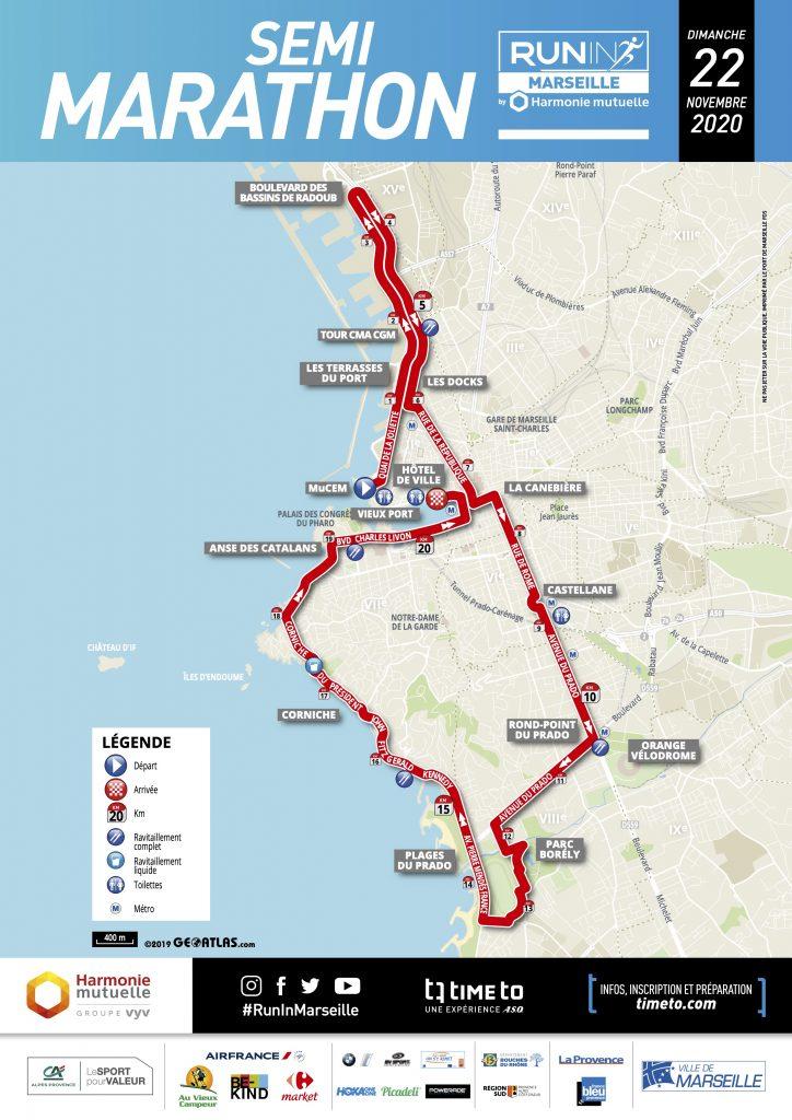 Трасса Марсельского полумарафона 2020