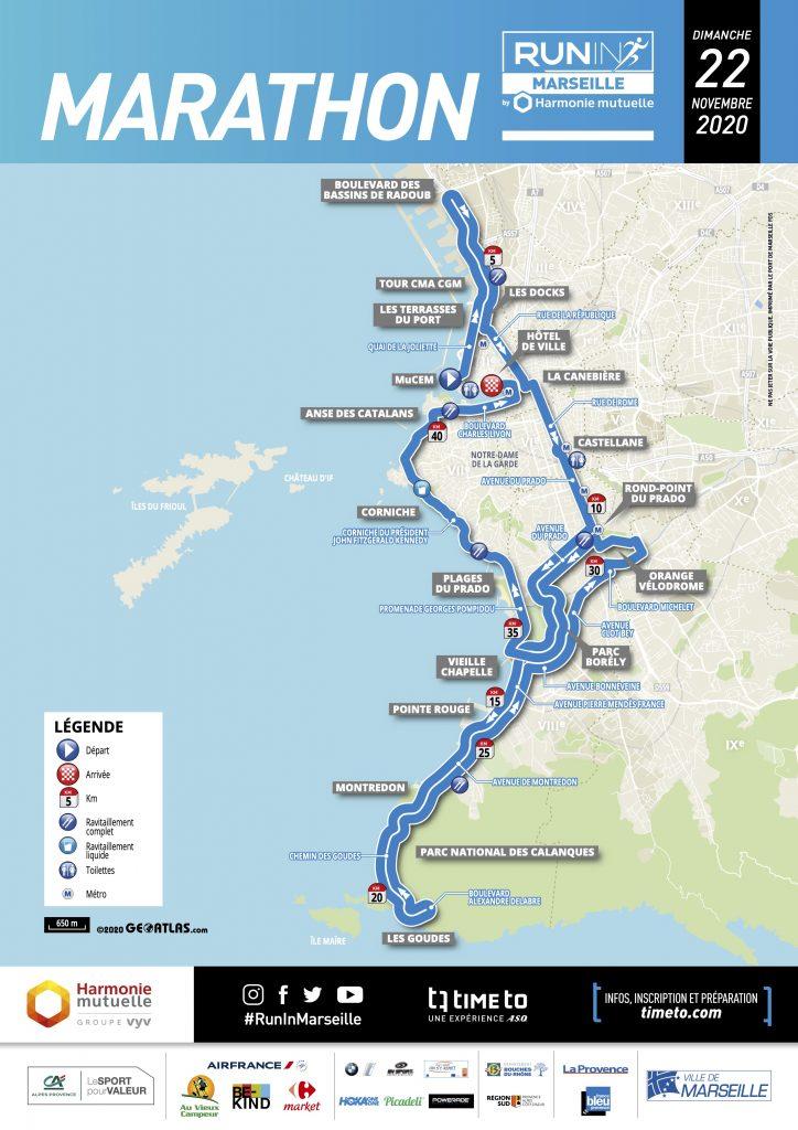Трасса Марсельского марафона (Marathon de Marseille) 2020