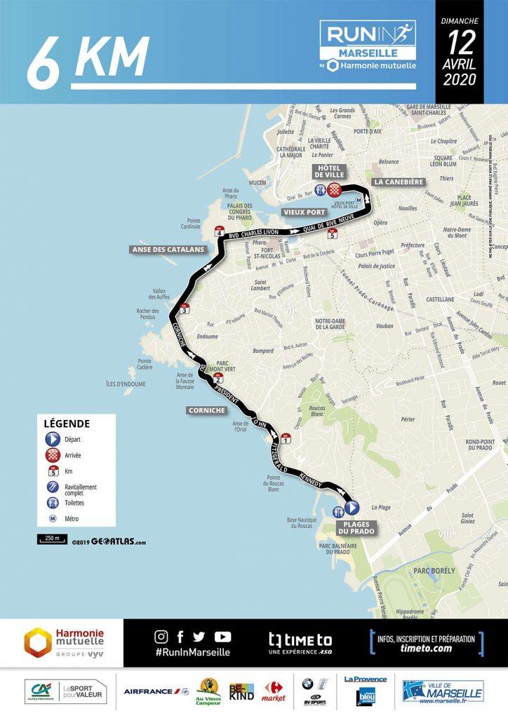 Трасса забега на 6 км в рамках Марсельского марафона (Run In Marseille by Harmonie Mutuelle) 2020