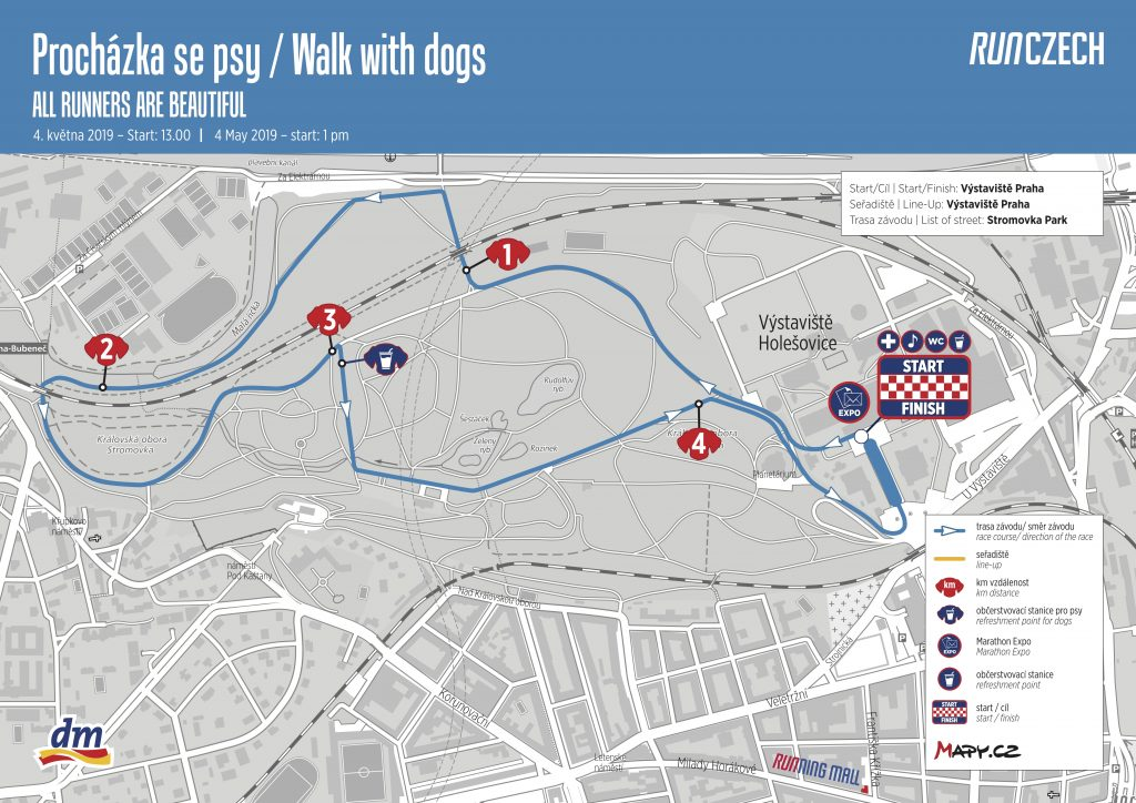 Трасса забега с собаками в рамках Пражского марафона (Volkswagen Maraton Praha) 2019