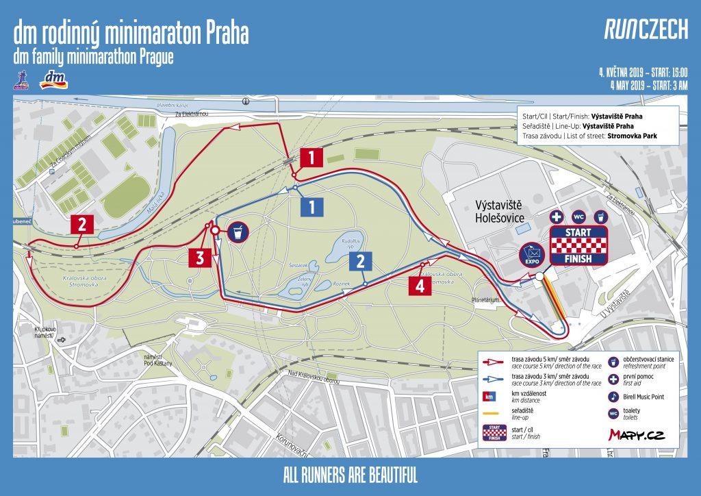 Трасса семейного забега в рамках Пражского марафона (Volkswagen Maraton Praha) 2019