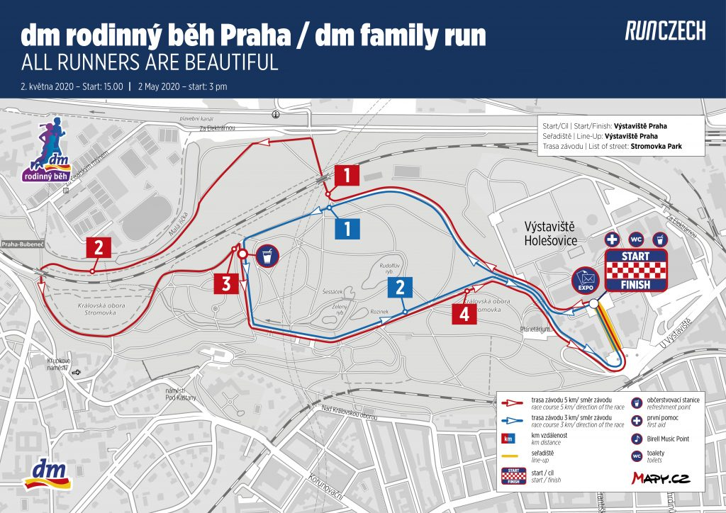 Трасса семейного забега в рамках Пражского марафона (Volkswagen Maraton Praha) 2020