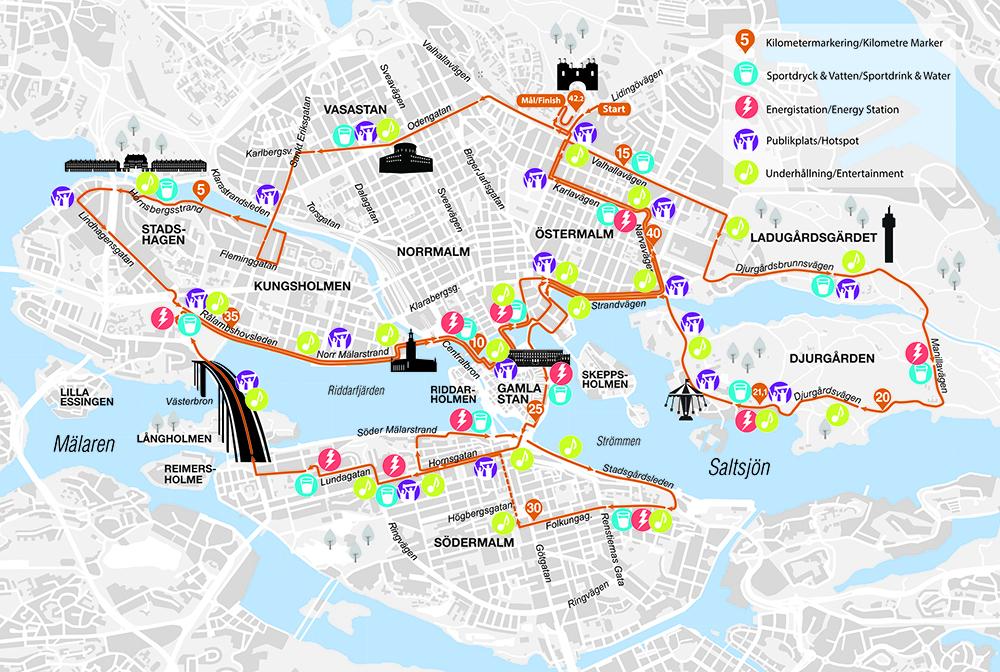 Трасса Стокгольмского марафона (ASICS Stockholm Marathon) 2021