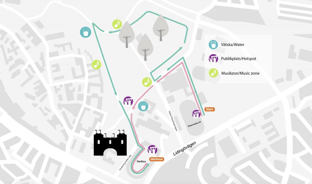 Трасса детских забегов в рамках Стокгольмского марафона (ASICS Stockholm Marathon) 2020