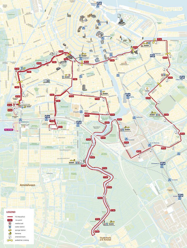 Трасса Амстердамского марафона (TCS Amsterdam Marathon) 2020