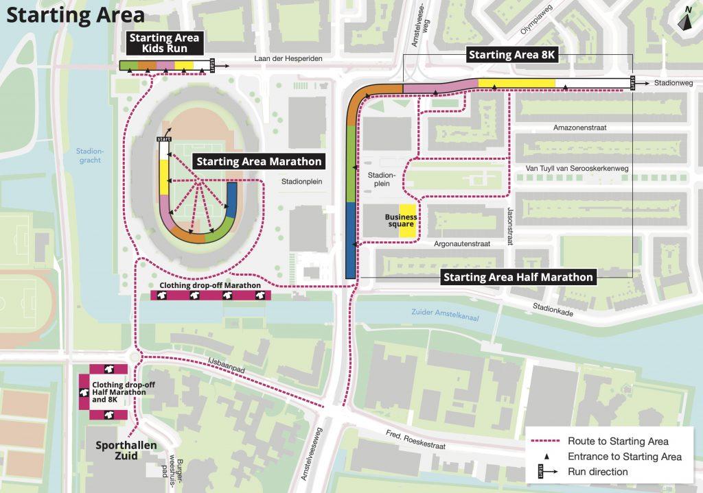 Зона старта со стартовыми блоками Амстердамского марафона (TCS Amsterdam Marathon) и полумарафона (Mizuno Halve Marathon) 2020