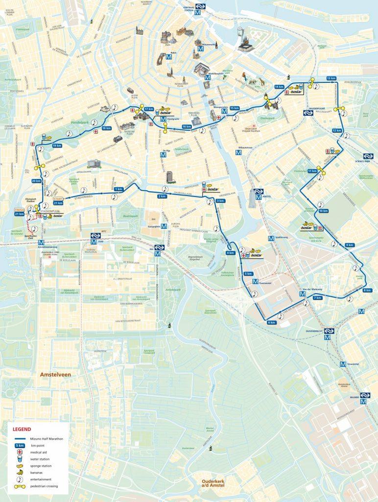 Трасса Амстердамского полумарафона (Mizuno Halve Marathon) 2021