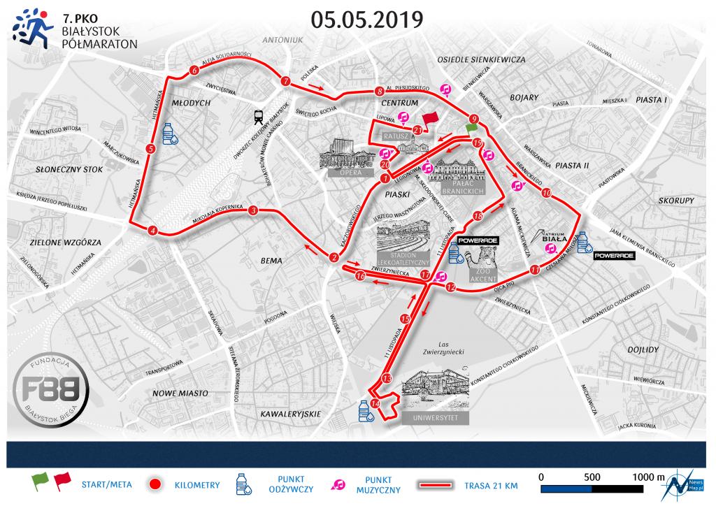 Трасса Белостокского полумарафона (PKO Białystok Półmaraton) 2019