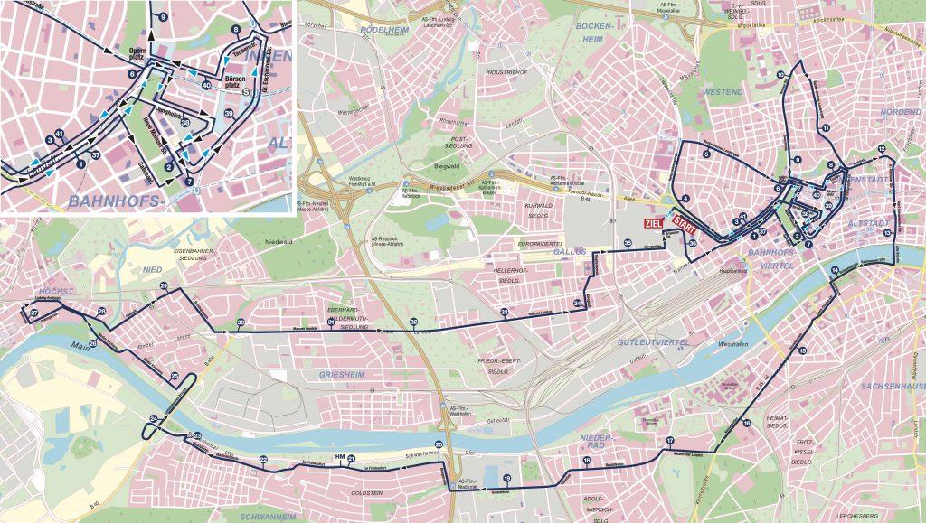Трасса Франкфуртского марафона (Mainova Frankfurt Marathon) 2020