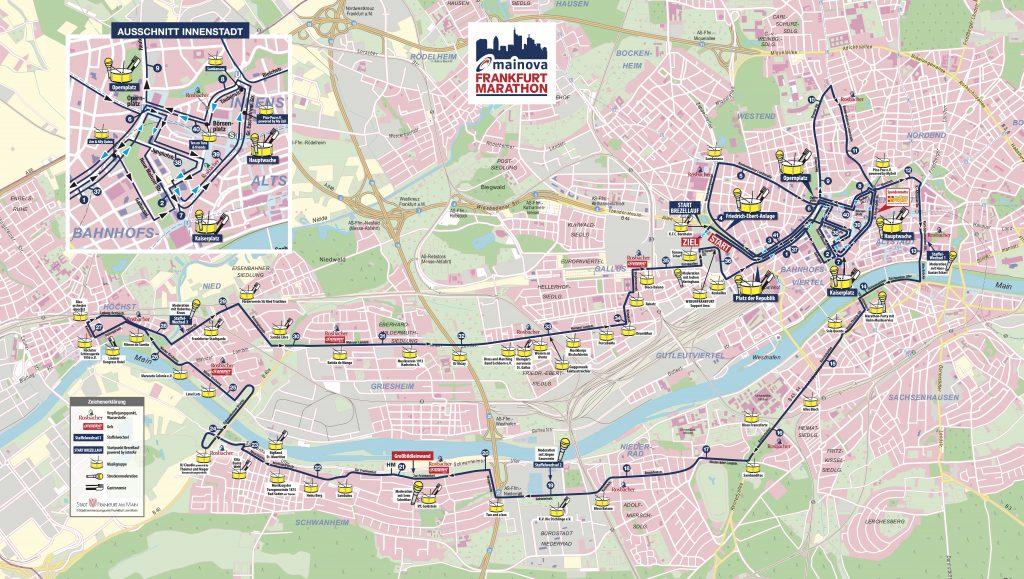 Трасса Франкфуртского марафона (Mainova Frankfurt Marathon) 2021