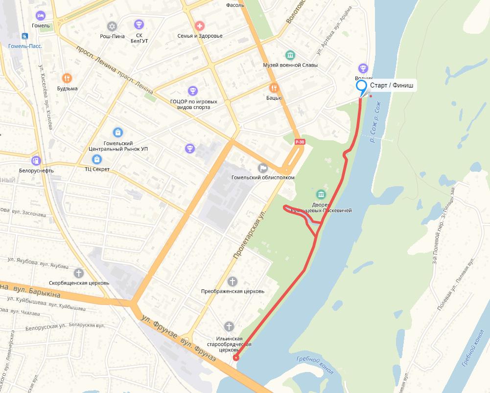 Трасса забега на 4,2 км в рамках Гомельского марафона (Белоруснефть-Экомарафон) 2019