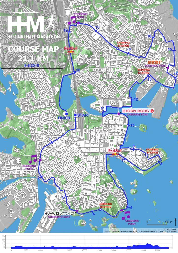 Трасса Хельсинского полумарафона (Helsinki Half Marathon) 2019 с профилем высот