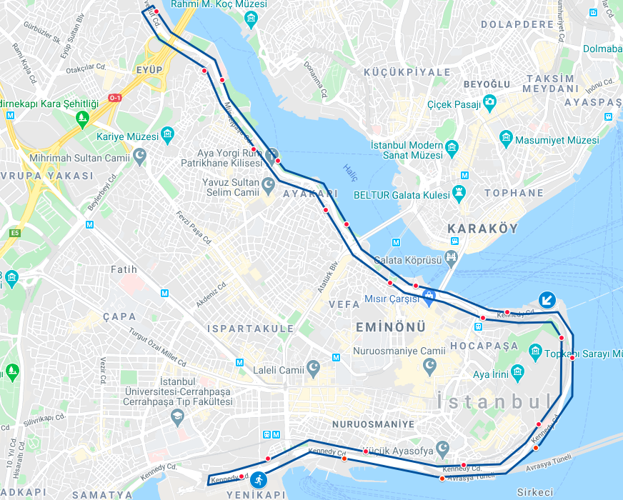 Трасса Стамбульского полумарафона (N Kolay Istanbul Yari Maratonu) 2021