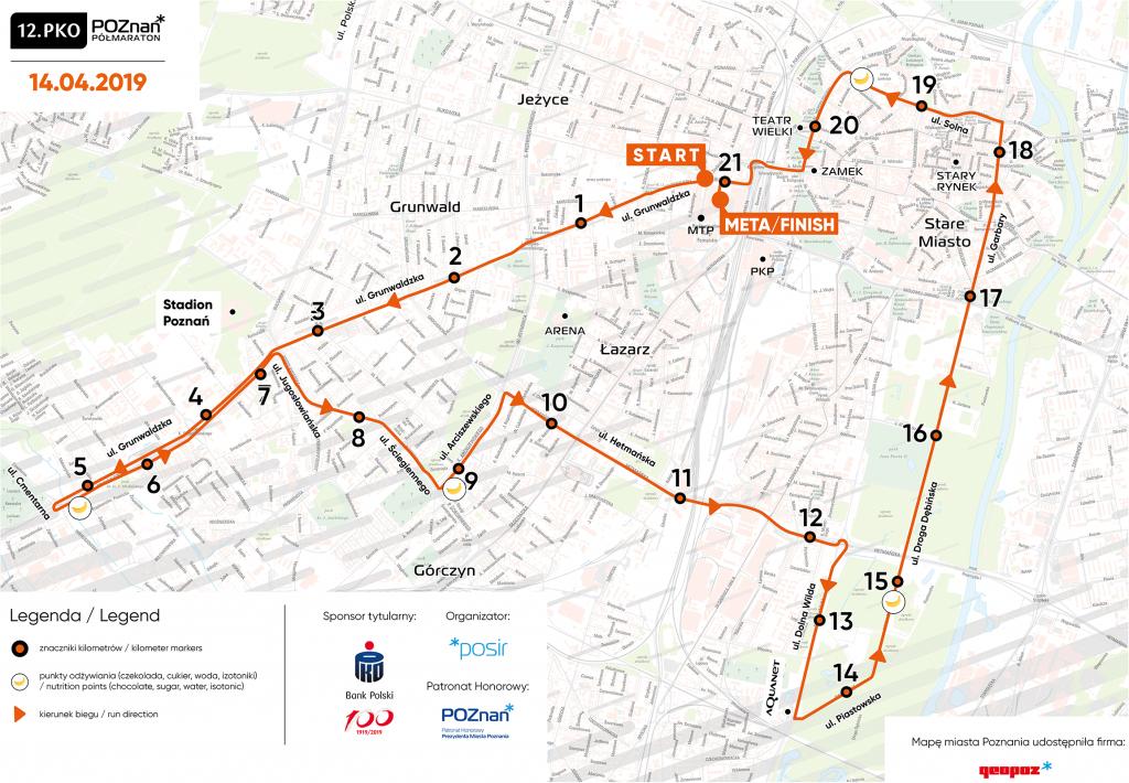 Трасса Познаньского полумарафона (PKO Poznań Półmaraton) 2019