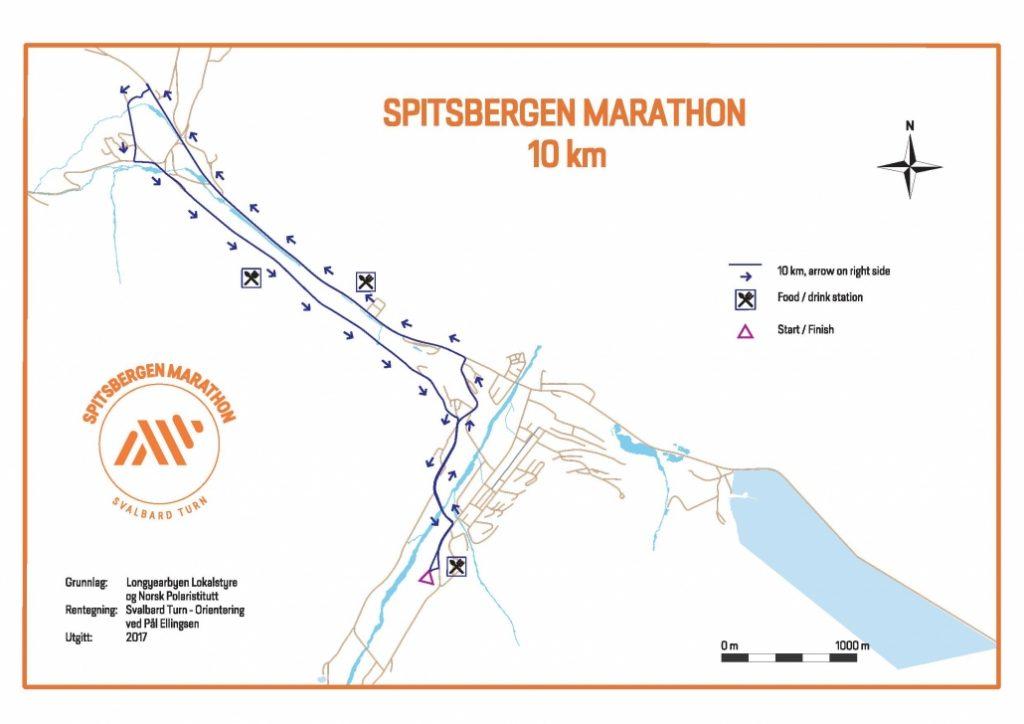 Course of the 6.2mi/10km Race, Spitsbergen Marathon 2017