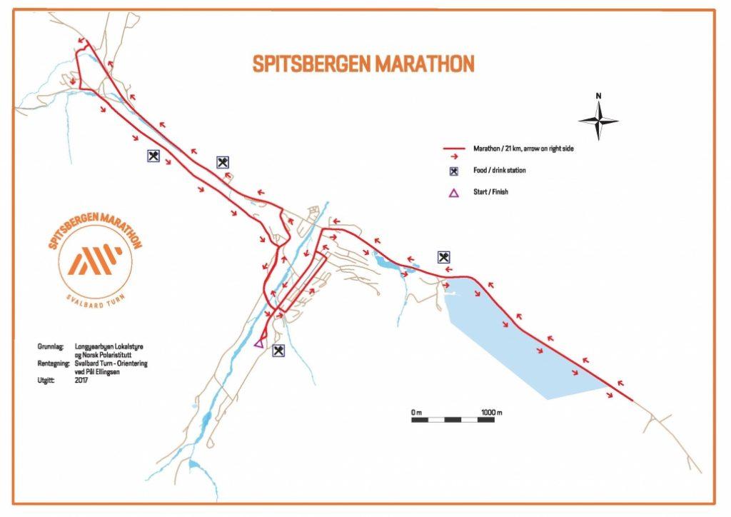 Course of the Spitsbergen Marathon 2017