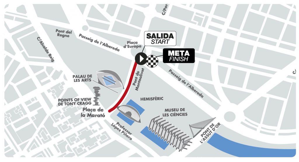 Трасса детских забегов в рамках Валенсийского марафона (Maratón Valencia Trinidad Alfonso EDP) 2019