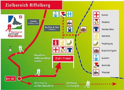 План зоны финиша Церматтского марафона (Gornergrat Zermatt Marathon) 2020