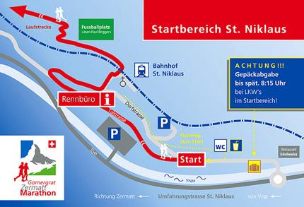 План зоны старта Церматтского марафона (Gornergrat Zermatt Marathon) 2021