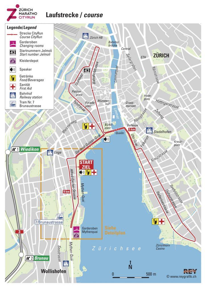 Трасса забега на 10 км в рамках Цюрихского марафона (Zürich Marathon) 2021