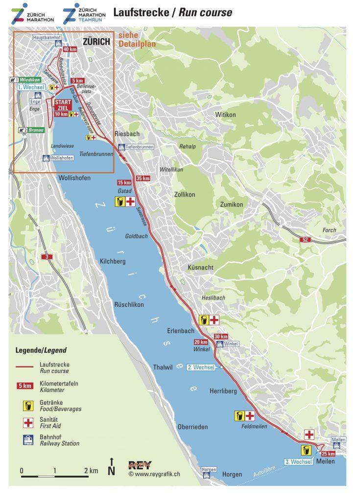 Трасса Цюрихского марафона (Zürich Marathon) 2021